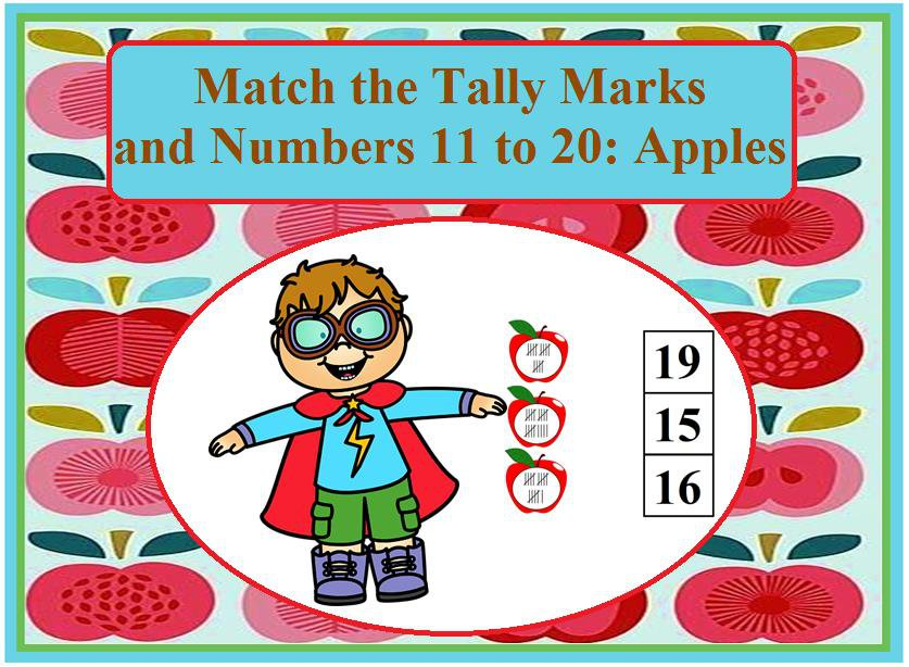 Match the Tally Marks and Numbers 11 to 20: Apples