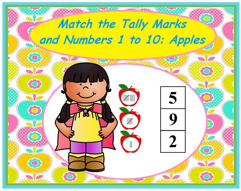 Match the Tally Marks and Numbers 1 to 10: Apples