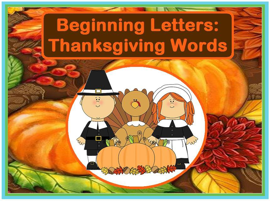 Beginning Letters: Thanksgiving Words