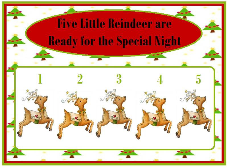 Five Little Reindeer are Ready for the Special Night