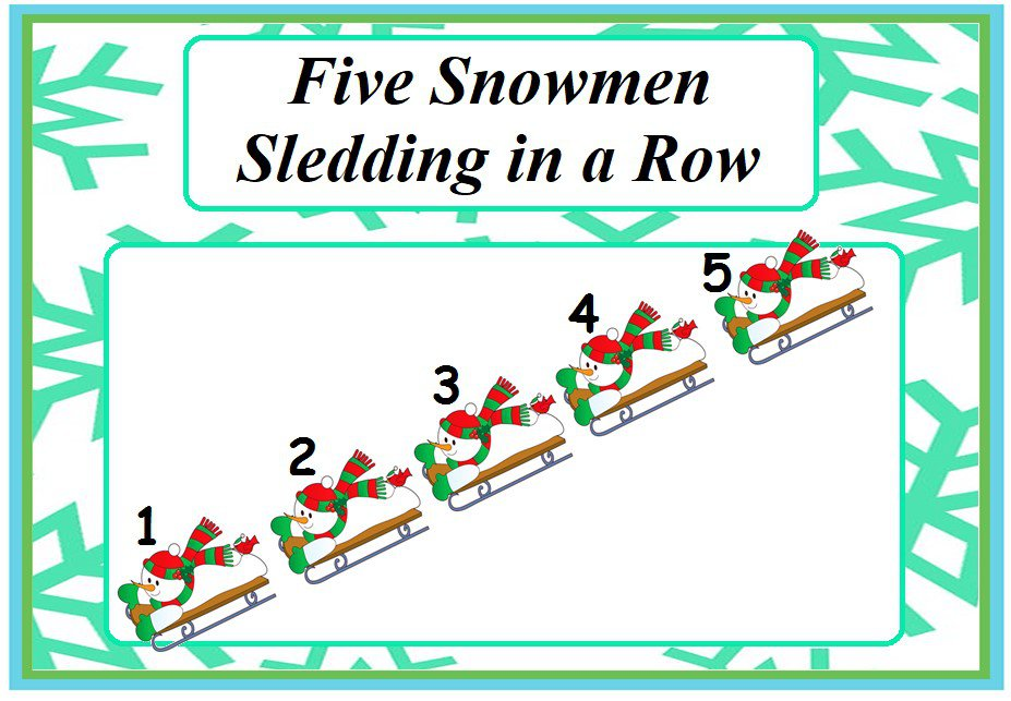 Five Snowmen Sledding in a Row